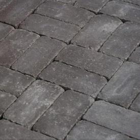 Тротуарна плитка Золотий Мандарин Цегла Антик 200х100х60 мм на сірому цементі коричневий