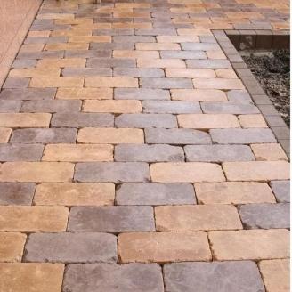 Тротуарна плитка Золотий Мандарин Роттердам Антик 250х120х65 мм коричневий на білому цементі