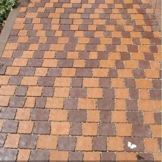 Тротуарная плитка Золотой Мандарин Креатив 60 мм на сером цементе персиковый