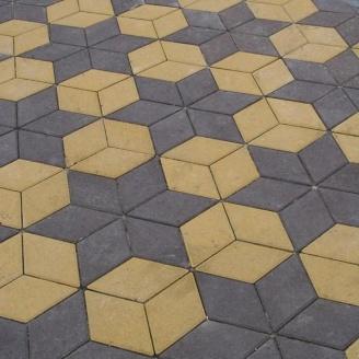 Тротуарна плитка Золотий Мандарин Ромб 150х150х60 мм жовтий на сірому цементі
