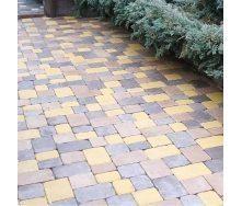 Тротуарная плитка Золотой Мандарин Плац 160х60 мм желтый на сером цементе