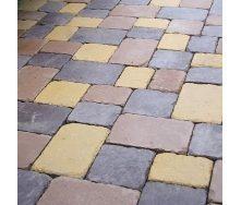 Тротуарная плитка Золотой Мандарин Плац 160х60 мм коричневый на белом цементе