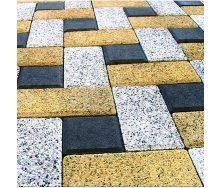 Тротуарная плитка Золотой Мандарин Меланж Кирпич 200х100х80 мм танжерин