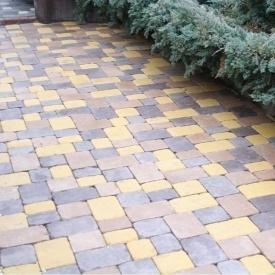 Тротуарна плитка Золотий Мандарин Плац 160х60 мм на білому цементі жовтий
