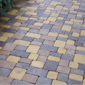 Тротуарна плитка Золотий Мандарин Плац 160х60 мм на сірому цементі персиковий