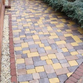 Тротуарная плитка Золотой Мандарин Плац Антик 160х60 мм желтый на сером цементе