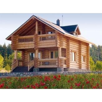 Строительство жилого дома с оцилиндрованного бревна 131 м2