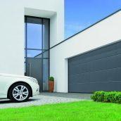 Ворота гаражные секционные двустенные Hormann LPU L-гофр woodgrain RAL 7016 серый антрацит