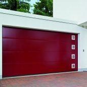 Ворота гаражные секционные двустенные Hormann LPU L-гофр silkgrain мотив 461 RAL 3003