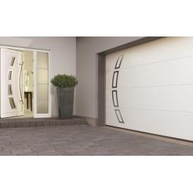 Ворота гаражные секционные двустенные Hormann LPU L-гофр silkgrain мотив 457 RAL 9016