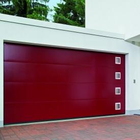 Ворота гаражні секційні двостінні Hormann LPU L-гофр silkgrain мотив 461 RAL 3003