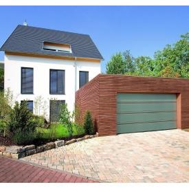 Ворота гаражні секційні двостінні Hormann LPU silkgrain зі вставками під деревину RAL 7030