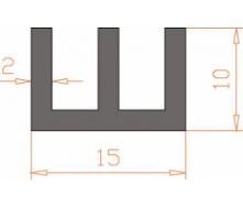 Алюминиевый Ш-образный профиль 15х10х2/AS