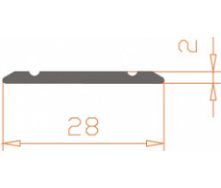 Алюминиевый порог AS 28x2 мм