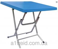 Стол складной квадратный с металлическими ножками голубой