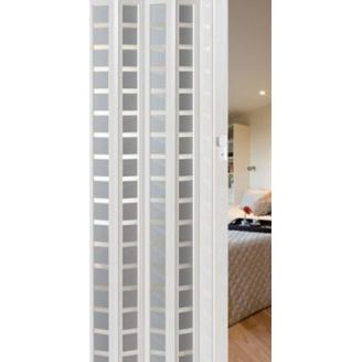 Межкомнатные двери гармошка со стеклом Silver Square