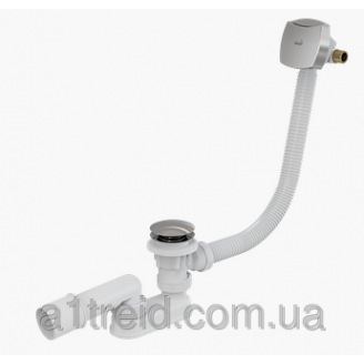 Сифон для ванны click-clack с напуском воды через перелив пластик / металл A508KM Alco Plast Алька Пласт