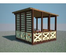 Беседка деревянная полукрытая 3,1х3,1 м