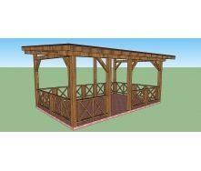Беседка-терраса деревянная 3,8х6 м