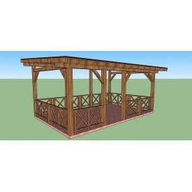 Альтанка-тераса дерев'яна 3,8х6 м