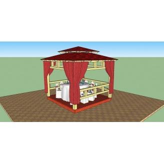 Беседка деревянная открытого типа 3х3 м