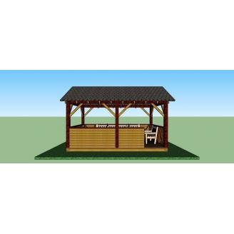 Беседка деревянная открытого типа 5х3,3 м