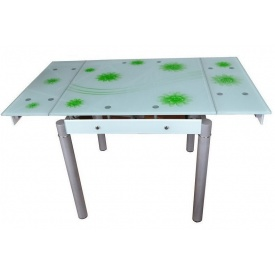 Стіл кухонний скляний Мікс Меблі Франческо 80x80x75 см біло-зелений