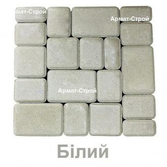 Тротуарная плитка вибропрессованная Старый Город 180х120 мм 2,5 см белая