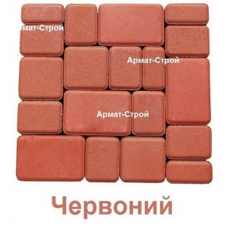 Тротуарная плитка вибропрессованная Старый Город 6 см Красный