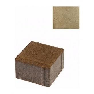 Тротуарная плитка ЮНИГРАН Евро 100х100х60 мм оливка на сером цементе