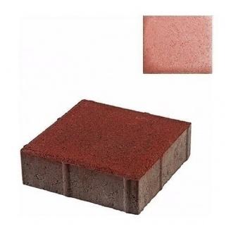 Тротуарная плитка ЮНИГРАН Квадрат 200х200х60 мм вишня на сером цементе