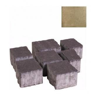 Тротуарная плитка ЮНИГРАН Плаза 60 мм оливка на сером цементе