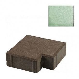 Тротуарная плитка ЮНИГРАН Тетрис 200х200х60 мм малахит на белом цементе