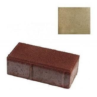 Тротуарная плитка ЮНИГРАН Кирпичик 200х100х60 мм оливка на сером цементе