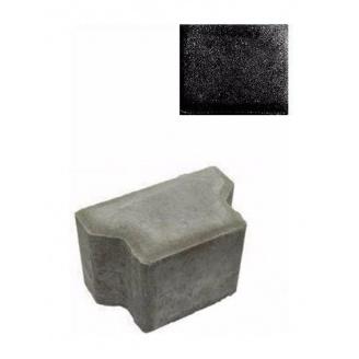 Тротуарна плитка ЮНІГРАН Двотавр Т 165х100х100 мм обсидіан на сірому цементі