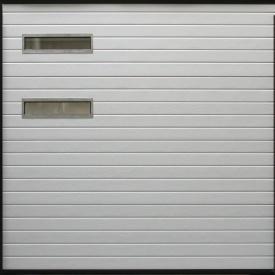 Ворота гаражные секционные Ryterna TLB woodgrain узкий гофр RAL 9016 белый