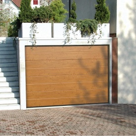 Ворота гаражні секційні Ryterna R40 slick широкий гофр Light Italianian Oak