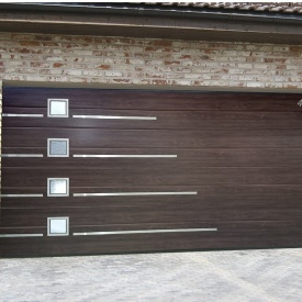 Ворота гаражные секционные Ryterna R40 slick широкий гофр Walnut