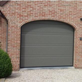 Ворота гаражные секционные Ryterna TLB slick верхняя полоса RAL 7042