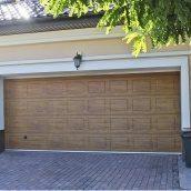 Ворота гаражные секционные Ryterna R40 woodgrain филенка Golden oak