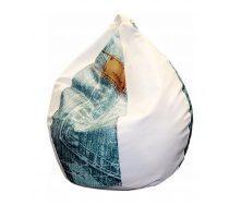 Кресло-груша SOFYNO БАББЛ 100 см с принтом джинс