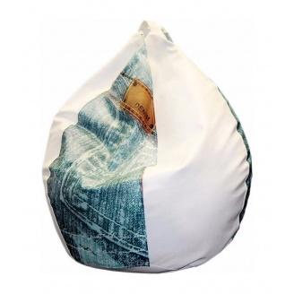 Крісло-груша SOFYNO БАББЛ 100 см з принтом джинс