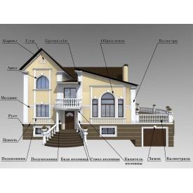 Оформление фасада архитектурно-декоративными элементами из пенополистирола ПСВ-С М-35