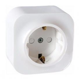 Розетка с заземлением настенная 1х16А белая