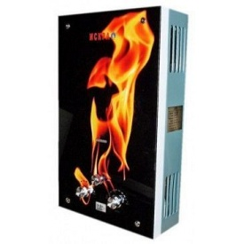 Газовый проточный водонагреватель ИСКРА 10 л/мин принт огонь стекло