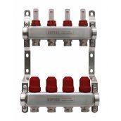 Коллектор на 5 выходов для теплого пола с расходомерами и термоклапанами Neptun IWS 8 бар