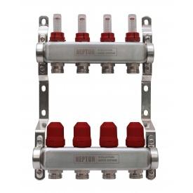 Коллектор на 8 выходов для теплого пола с расходомерами и термоклапанами Neptun IWS 8 бар