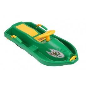 Санки с рулем Plastkon Снежная лодка 93x43x27 см зеленые