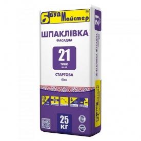 Смесь для шпаклевания на белом цементе стартовая БудМайстер ТИНК-21 25 кг
