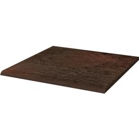 Клинкерная плитка Paradyz Semir Brown ступень рельефная prosta strukturalna 30х30 см